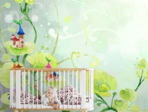 Παραμυθένιο σκηνικό με φυτά Παιδικά Ταπετσαρίες Τοίχου 100 x 100 εκ.