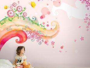 Παραμυθένιο ροζ σκηνικό Παιδικά Ταπετσαρίες Τοίχου 100 x 100 εκ.