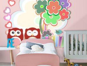 Ροζ κουκουβάγιες Παιδικά Ταπετσαρίες Τοίχου 100 x 100 εκ.
