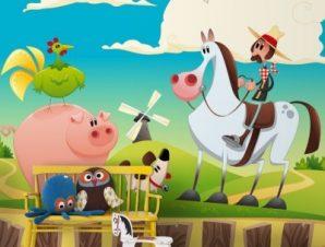 Αγρότης στην εξοχή Παιδικά Ταπετσαρίες Τοίχου 100 x 100 εκ.