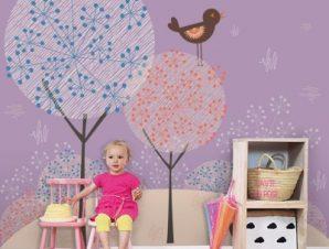 Πουλιά Παιδικά Ταπετσαρίες Τοίχου 100 x 100 cm