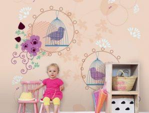 Πουλιά με κλουβιά Παιδικά Ταπετσαρίες Τοίχου 100 x 100 εκ.