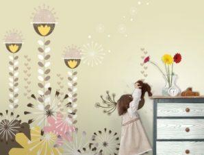 Καφέ λουλούδια Παιδικά Ταπετσαρίες Τοίχου 100 x 100 εκ.
