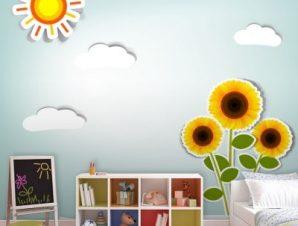 Ηλίανθοι Παιδικά Ταπετσαρίες Τοίχου 88 x 110 cm