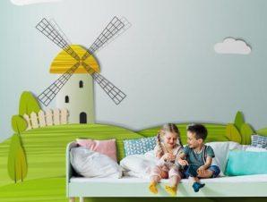 Μύλος σε λιβάδι Παιδικά Ταπετσαρίες Τοίχου 100 x 100 εκ.
