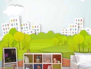 Τοπίο στην πόλη Παιδικά Ταπετσαρίες Τοίχου 100 x 100 εκ.