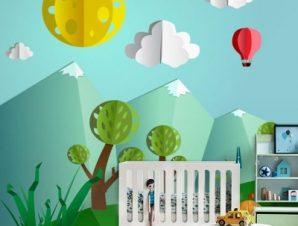 Ηλιόλουστη μέρα στο δάσος 3d Παιδικά Ταπετσαρίες Τοίχου 100 x 100 εκ.