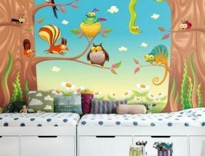 Αστεία ζώα σε κλαδιά Παιδικά Ταπετσαρίες Τοίχου 100 x 100 εκ.