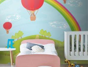 Φανταστικό τοπίο με αερόστατα Παιδικά Ταπετσαρίες Τοίχου 100 x 100 εκ.