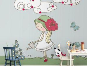 Κοριτσάκι ποτίζει λουλούδια Παιδικά Ταπετσαρίες Τοίχου 100 x 100 εκ.