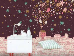 Νυχτερινή ροζ πόλη Παιδικά Ταπετσαρίες Τοίχου 100 x 100 εκ.
