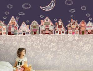Χιονισμένο χωριό Παιδικά Ταπετσαρίες Τοίχου 100 x 100 εκ.