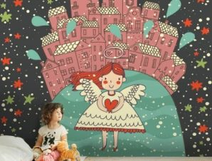 Κοριτσάκι αγγελούδι Παιδικά Ταπετσαρίες Τοίχου 100 x 100 εκ.