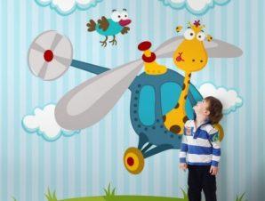 Καμηλοπάρδαλη σε ελικόπτερο Παιδικά Ταπετσαρίες Τοίχου 100 x 100 εκ.