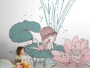 Κοριτσάκι σε νούφαρο Παιδικά Ταπετσαρίες Τοίχου 100 x 100 εκ.
