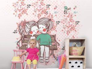 Ζευγαράκι σε παγκάκι Παιδικά Ταπετσαρίες Τοίχου 100 x 100 εκ.