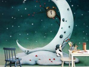 Χιονισμένο φεγγάρι Παιδικά Ταπετσαρίες Τοίχου 100 x 100 εκ.