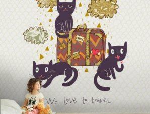 Ταξιδιάρικες γάτες Παιδικά Ταπετσαρίες Τοίχου 100 x 100 εκ.