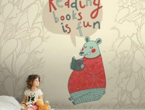 Το διάβασμα είναι διασκεδαστικό Παιδικά Ταπετσαρίες Τοίχου 100 x 100 εκ.