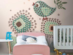 Πουλί ρετρό Παιδικά Ταπετσαρίες Τοίχου 100 x 100 εκ.