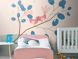 Ρομαντικό φόντο με πουλιά Παιδικά Ταπετσαρίες Τοίχου 100 x 100 cm