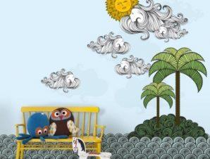 Νησί Παιδικά Ταπετσαρίες Τοίχου 100 x 100 εκ.