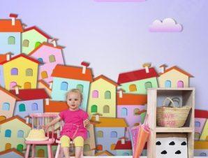 Πολύχρωμη μικρή πόλη Παιδικά Ταπετσαρίες Τοίχου 100 x 100 cm