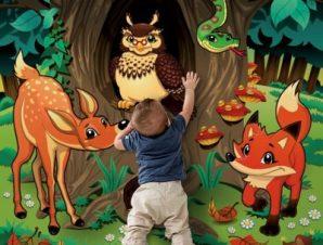 Ζώα του δάσους Παιδικά Ταπετσαρίες Τοίχου 100 x 100 cm