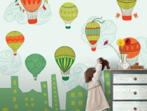 Πολύχρωμα αερόστατα Παιδικά Ταπετσαρίες Τοίχου 100 x 100 cm