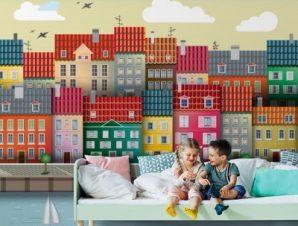 Πόλη σε θάλασσα Παιδικά Ταπετσαρίες Τοίχου 100 x 100 cm