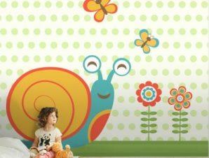 Χαρούμενο σαλιγκάρι Παιδικά Ταπετσαρίες Τοίχου 100 x 100 cm