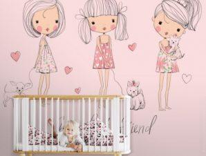 Χαριτωμένα κοριτσάκια Παιδικά Ταπετσαρίες Τοίχου 100 x 100 εκ.