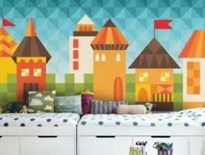 Παραμυθένια πόλη Παιδικά Ταπετσαρίες Τοίχου 100 x 100 εκ.