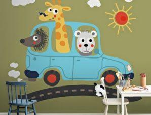 Ζωάκια σε αυτοκίνητο Παιδικά Ταπετσαρίες Τοίχου 100 x 100 cm