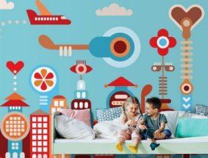 Φανταστική πόλη Παιδικά Ταπετσαρίες Τοίχου 100 x 100 εκ.