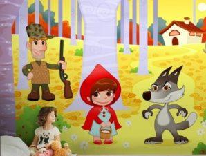Κοκκινοσκουφίτσα Παιδικά Ταπετσαρίες Τοίχου 100 x 100 εκ.