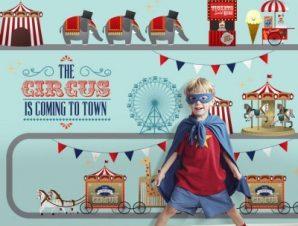 Παιδικό τσίρκο Παιδικά Ταπετσαρίες Τοίχου 86 x 120 cm