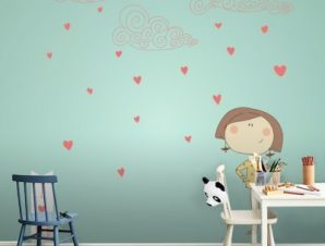Καρδούλες και συννεφάκια Παιδικά Ταπετσαρίες Τοίχου 100 x 100 εκ.