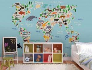 Χάρτης με ζώα Παιδικά Ταπετσαρίες Τοίχου 100 x 100 εκ.