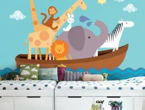 Βάρκα με ζωάκια Παιδικά Ταπετσαρίες Τοίχου 100 x 100 εκ.