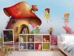 Στρουμφόσπιτo Παιδικά Ταπετσαρίες Τοίχου 100 x 100 εκ.