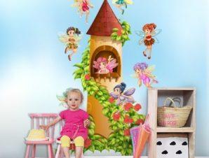 Κάστρο νεράιδων Παιδικά Ταπετσαρίες Τοίχου 100 x 100 εκ.