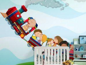 Πολύχρωμο τρενάκι Παιδικά Ταπετσαρίες Τοίχου 91 x 115 cm