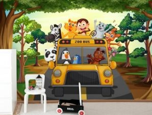 Σχολικό των ζώων Παιδικά Ταπετσαρίες Τοίχου 80 x 130 cm