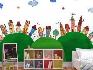 Παραμυθένια πόλη Παιδικά Ταπετσαρίες Τοίχου 84 x 120 cm