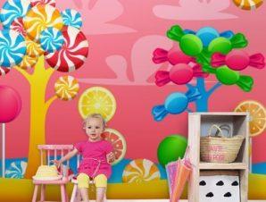 Καραμελόδεντρα Παιδικά Ταπετσαρίες Τοίχου 100 x 100 εκ.
