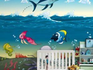 Ο βυθός της θάλασσας Παιδικά Ταπετσαρίες Τοίχου 100 x 100 εκ.