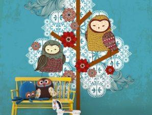 Κουκουβάγιες και δέντρα Παιδικά Ταπετσαρίες Τοίχου 100 x 100 εκ.