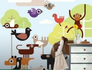 Ζώα της ζούγκλας Παιδικά Ταπετσαρίες Τοίχου 100 x 100 εκ.