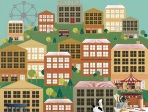 Πόλη με κτήρια Παιδικά Ταπετσαρίες Τοίχου 100 x 100 cm